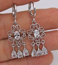 18K White Gold Filled - White Topaz Hollow Flower Chandelier Bride Hoop Earrings