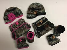 Twins Newborn Baby Boy Girl Crochet Camo Hunting Hats Booties and Diaper Covers