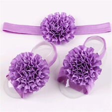 1set/3Pcs  Baby Infant Headband Foot Flower Elastic Hair Band Accessory Purple 1