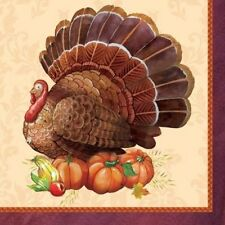 Thanksgiving Elegance Turkey Beverage Napkins 16 ct Party