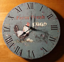 FARM FRESH EGGS CLOCK Country Farm Rustic Chicken Rooster Navy Kitchen Decor NEW