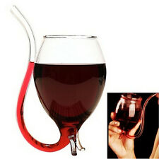 300ml Vampire Devil Red Wine Glass Cup Mug With Built in Drinking Tube Straw LE