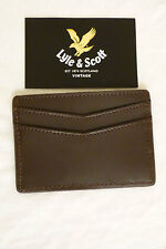 BNWT Lyle & Scott Vintage Mens Leather Card Holder Dark Brown . Gift Idea!