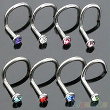 10Pcs Stunning Colorful Rhinestone Hook Bone Bar Pin Piercing Nose Studs Rings