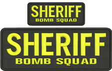SHERIFF BOMB SQUAD embroidery patches  4x10 and 2x5 hook yellow letters