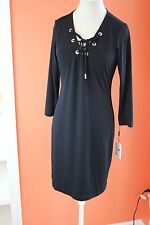 NWT CALVIN KLEIN BLACK KNIT DRESS GOLD TIE UP DESIGN  RETAILS $99.00