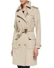 MICHAEL Michael Kors Beverly Short Sateen Tan Tie Trench Coat, Size M