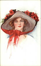 Beautiful Woman Het w/ Red Ribbon & Roses Court Barber c1910 Postcard