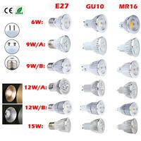 MR16 / GU10 / E27 Dimmbare CREE LED COB-Spot unten Glühlampe 6W 9W 12W 15W Lampe