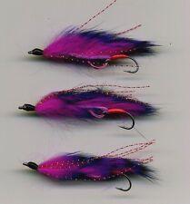 Trout Flies: MINI Snake Flies Purple Raiders x 3 size 8 all tied in the UK