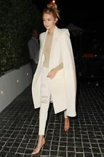 OLCAY GULSEN Long Cape Coat Cashmere Wool Winter White GIGI HADID FAV NWT NWD S