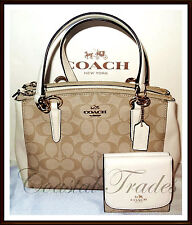 NWT $485 Coach Signature Leather Mini Christie Carryall Handbag Wallet Set CHALK