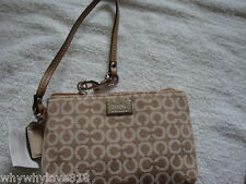 NWT NEW COACH  49793 Madison Needlepoint Op Art Wristlet Warm Khaki 49793