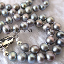 "18"" 4.5-5.5mm Small Gray Freshwater Pearl Necklace UE"