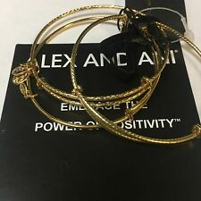 """ALEX AND ANI """"EXPANDABLE BANGLES SET OF 3""""  IN YELLOW GOLD FINISH! NWT!"""