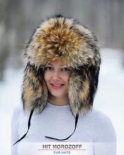 RACCOON FUR Hat Russian Winter Chapka Ushanka Pelzmütze Fellmütze Waschbär Mütze