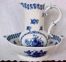 Porcelain Pitcher & Bowl ~ Flow Blue Floral