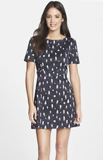French Connection Black Violet Polka Dot Spray Cut Out Back S/S Dress $148 NWT 6