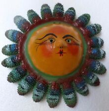 Mexican Folk Art Hand Painted Coconut Shell Seed Pod Mask Sun Rays