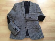 ASOS Blazer Jacket Houndstooth Check Wool Blend Elbow Patches Slim 38 (Fits 36)