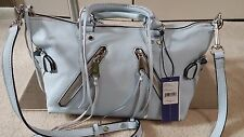 NEW REBECCA MINKOFF BLEACHED BLUE MOTO SATCHEL PEBBLE LEATHER BAG