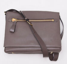 New $3080 TOM FORD Brownish-Gray Grained Calf Leather 'Buckley' Messenger Bag
