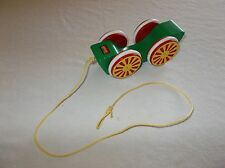 Vintage rare Swedish made quality Brio wooden pull toy wagon car used nice