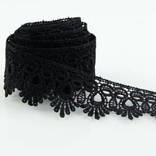 Black Fabric Ribbon Applique Venise Lace Trims Dress Sewing Crafts DIY 3 Yards