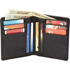 Mens Black Solid Genuine Leather Bi-Fold Wallet ID Credit Card Holder Billfold