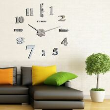 Modern Large Wall Clock 3D Mirror Wall Sticker Home Office Room Decoration ZY