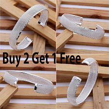 Mother's Present 925 Sterling Silver Net Mesh Bangle Bracelet Ladies Christmas