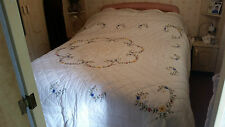 "Hand Made Quilt Embroided Bedspread - 101"" X 100"" + 2 Plain Pillow Cases"