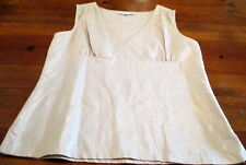 Andre OLIVER Linen Cotton Shimmery Shell V-Neck Cross over Sleeveless Blouse 12