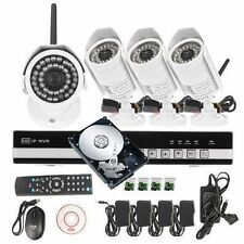 CCTV 4CH Network NVR DVR IR Home Security System+ 4 Wireless Camera+1TB HDD