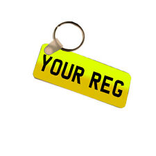 Any Reg, Any Name, Personalised Number Plate Style Fiberglass Plastic Keyring