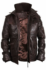 Mens Real Leather Jacket Biker Style Vintage Brown Zipped Pockets Casual Fitted