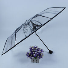 New Unique Elegant Transparent Waterproof Expandable Fold Umbrella Paris Tower