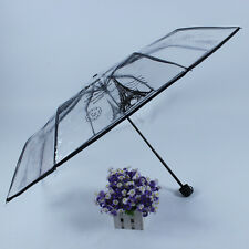 Lady Women Transparent Unique Elegant Parasol Rain Foldable Umbrella Waterproof