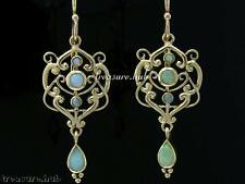 E104- Genuine 9ct Gold Yellow Natural OPAL Drop Dangle Earrings Vintage style