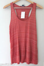 NWT Vince Designer Casual Orange White Stiped Racerback Knit Tank Top L $95