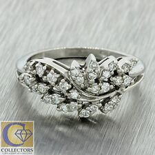 Vintage Estate 14k Solid White Gold  .28ctw Diamond Leaf Style Band Ring
