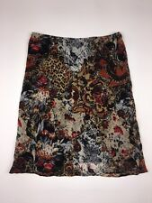 LAPIS Anthropologie Women's Size XL Print Dress Silk Work Skirt Knee Mid Stretch