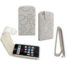 Business Case Apple iPhone 3GS 3G Etui Strass weiß Blumen