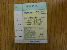 20/03/1988 Ticket: Everton v Liverpool [Football League Championship Season] . T