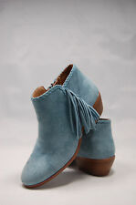 $140 Sam Edelman Paige Womens Blue Suede Leather Fringe Ankle boots size 5 NWOB