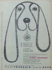 PUBLICITE AZUR SUPERCARBURANT FIDELE A SON MAITRE CHIEN DE 1958 FRENCH AD PUB
