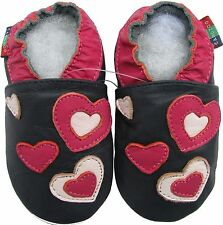 shoeszoo hearts dark blue 6-12m S soft sole leather baby shoes