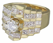 14K Yellow Gold Round Forever One Moissanite Diamond Engagement Ring deco 1.80ct