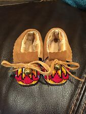 Native American Beaded Baby Moccasins, Ruby Red, Hand Made