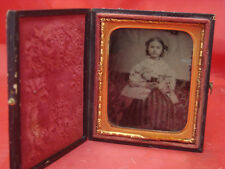 ANTIQUE AMBROTYPE YOUNG GIRL HOLDING BOOK BIBLE PHOTO